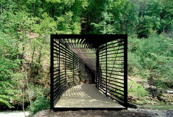 Breathtaking Footbridge Crossing The Areuse Blends In The Nature