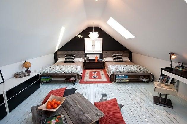 Eclectic Attic Hosts Two Teenage Boys Bedroom