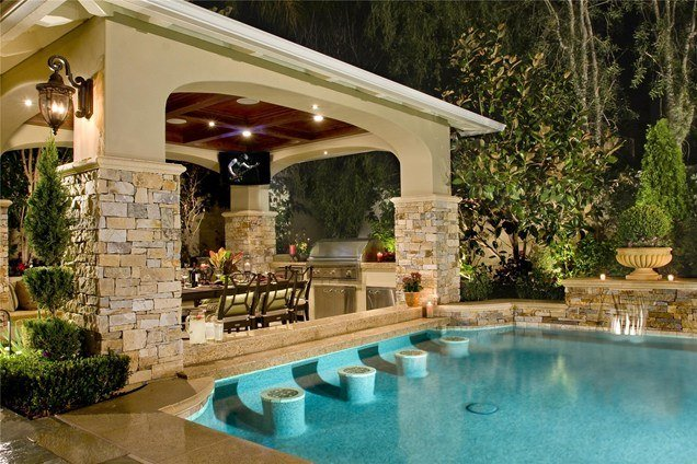 20 Gorgeous Poolside Outdoor Kitchen Designs on Outdoor Kitchen By Pool id=75451