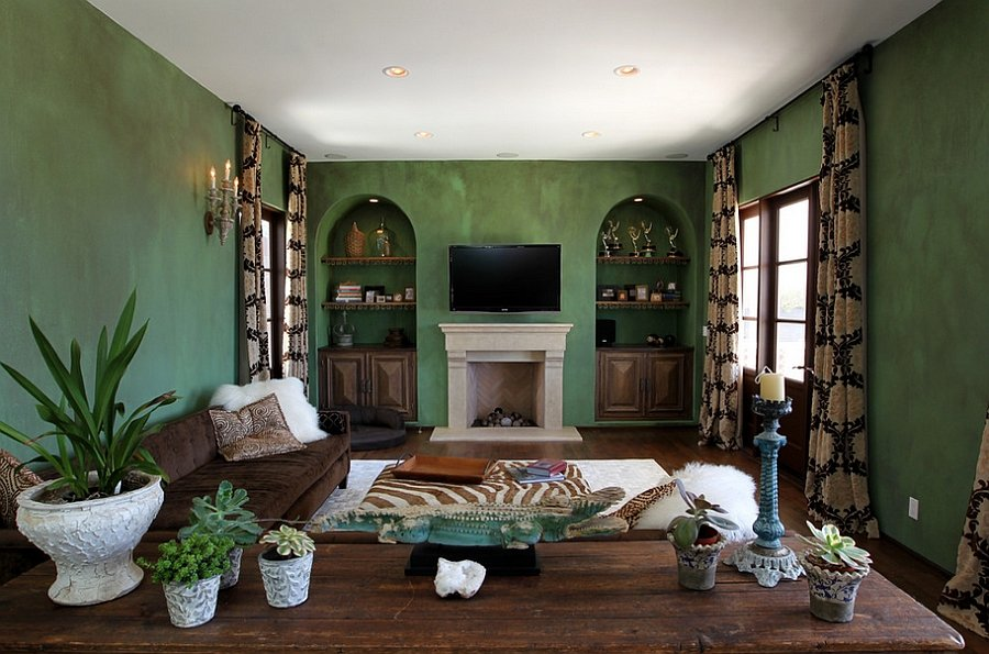 Warm Green Living Room