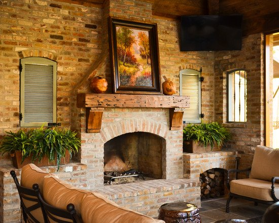20 gorgeous brick fireplace designs for Brick fireplaces designs ideas
