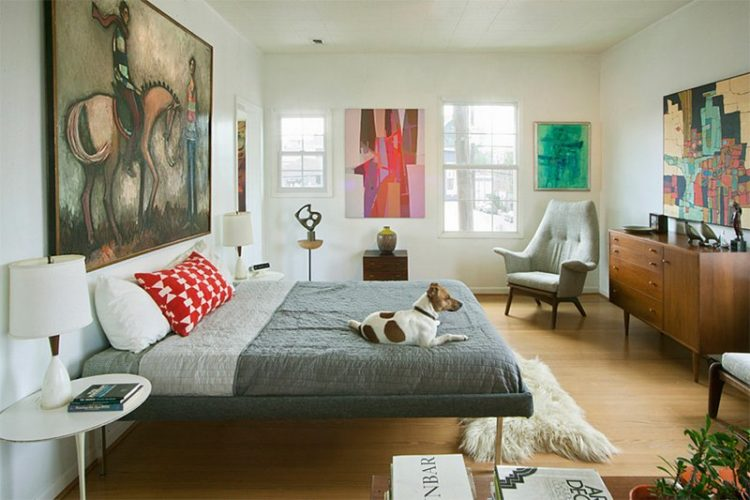 ideas bed attractive with artwork midcentury industrial rug modern area mid bedroom century