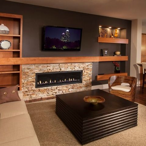 20 Amazing Finished Basements That Have a Fireplace