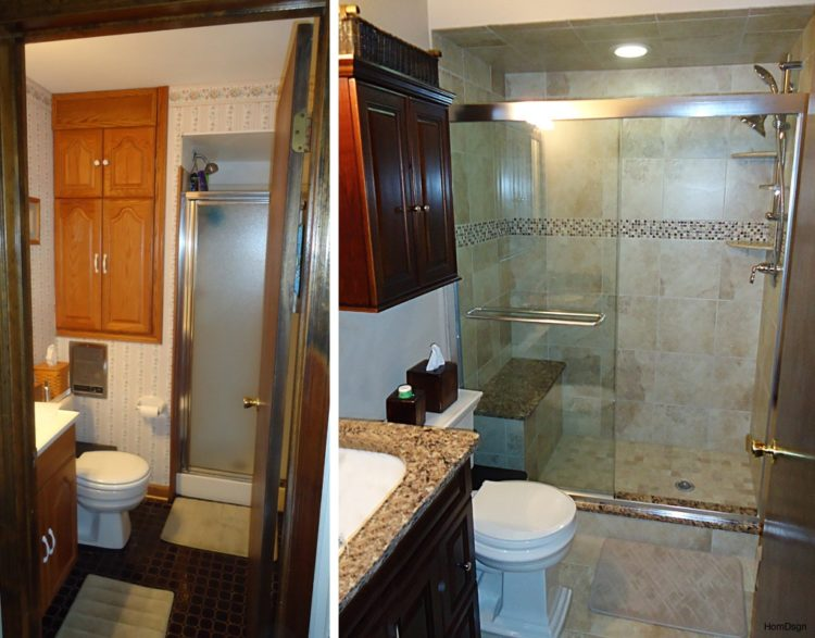 20 before and after bathroom remodels that are stunning - Images of small bathroom remodels ...