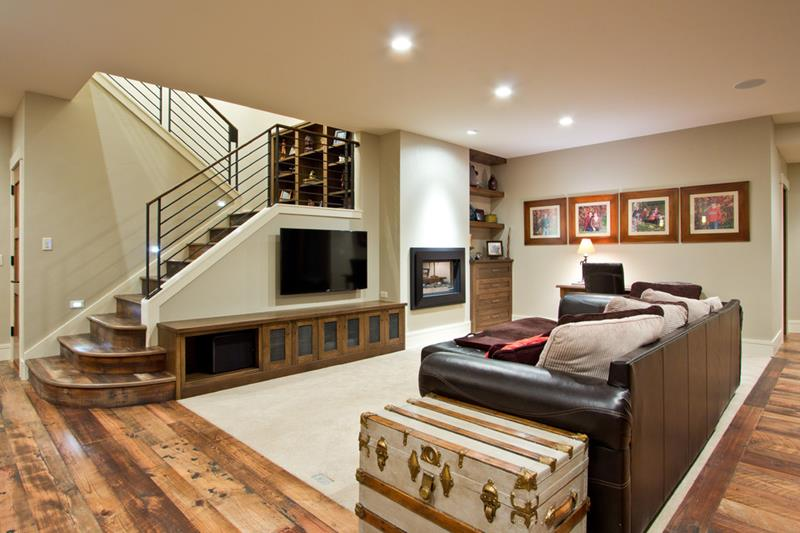 20 incredible finished basements with hardwood flooring for Basement flooring ideas pictures