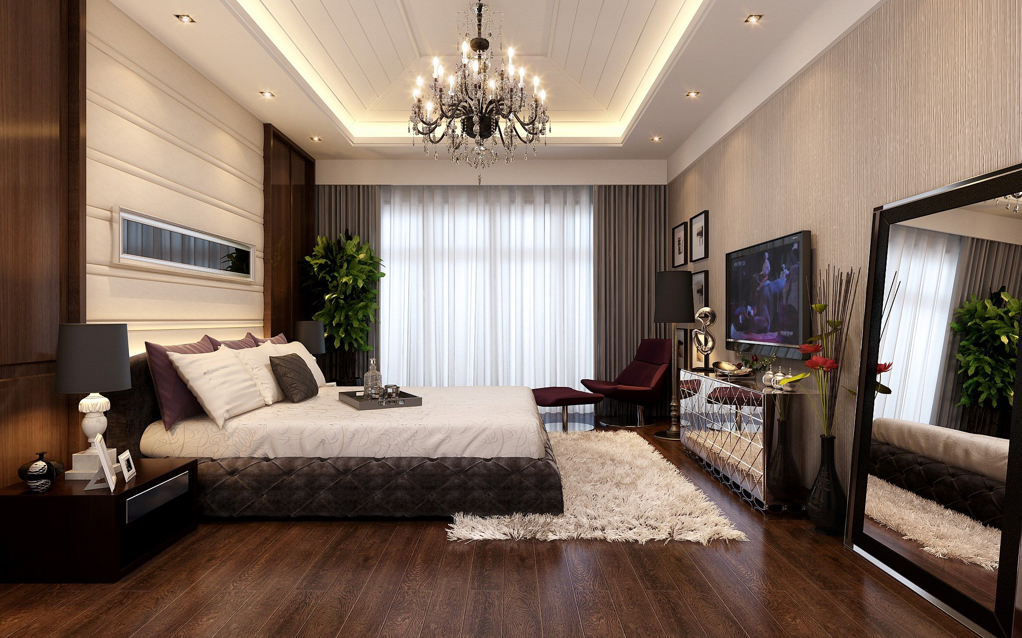 20 Gorgeous Bedrooms with Big Mirrors on Model Bedroom Ideas  id=60229