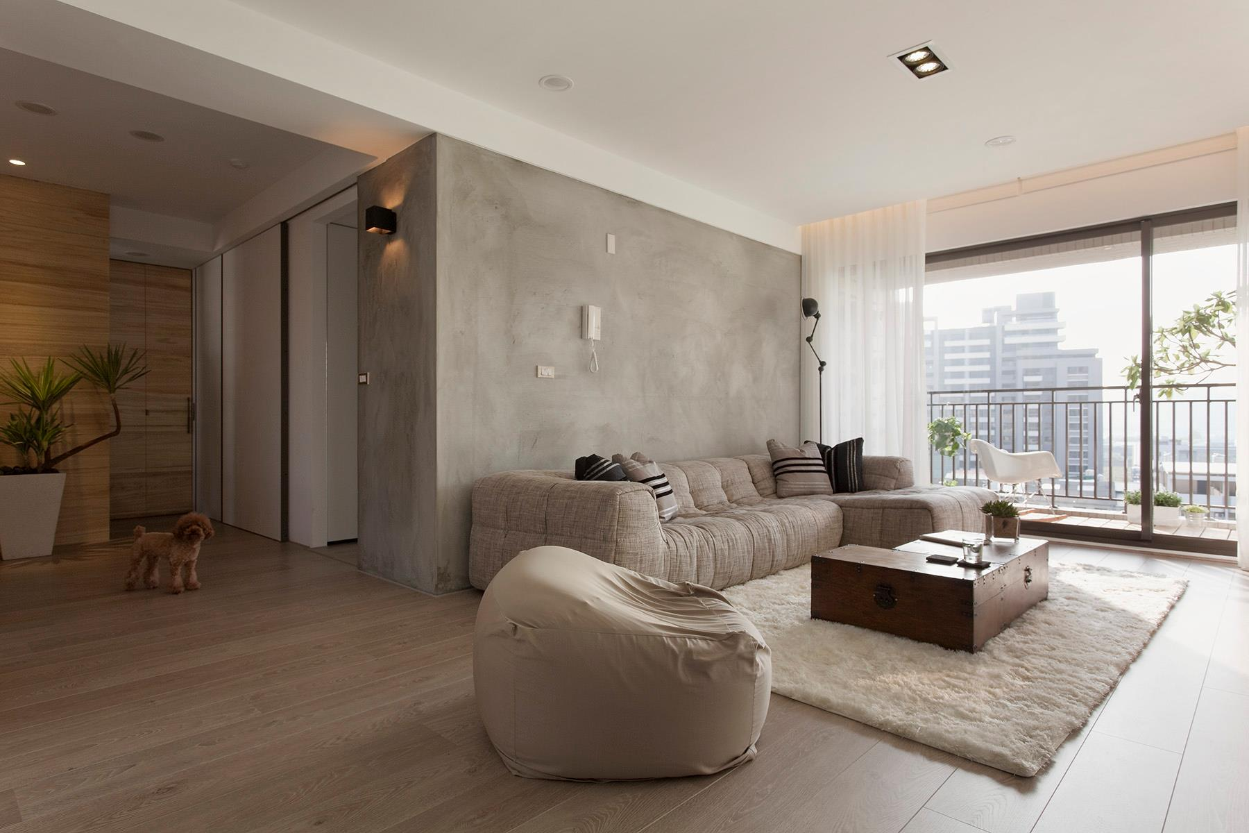 20 beautiful living rooms incorporating concrete - Cement showcase designs living room ...