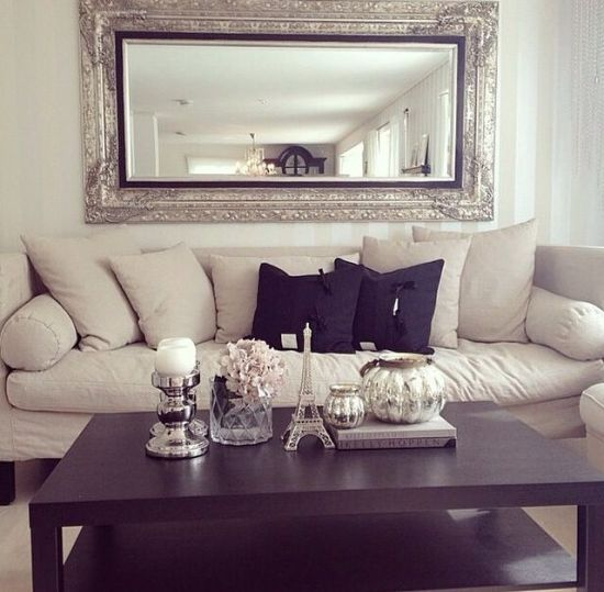 elegant interior with golden Greek Key mirror from ...