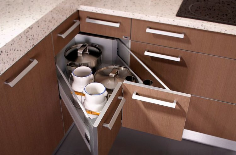 Genial Cornered Drawers Are One Way To Solve The Corner Cabinet Dilemma. Cornered  Drawers Are Built Into The Corner Cabinet And Pull Out From It Giving  Access To ...