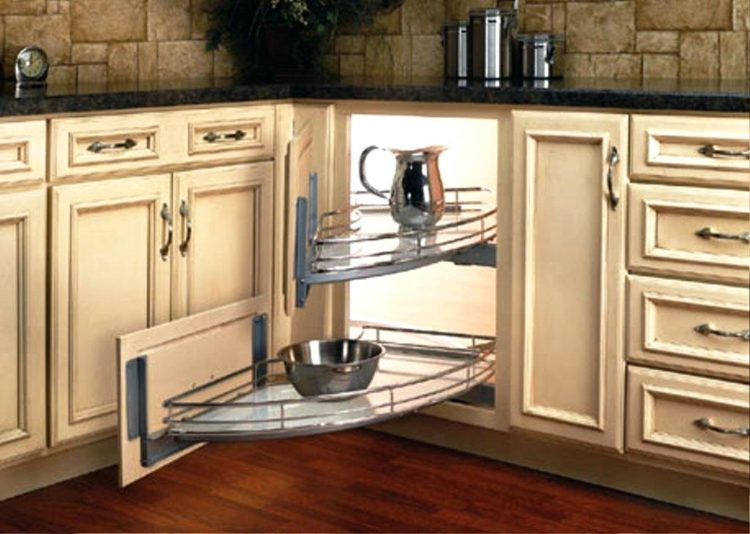 Like the Lazy Susan swinging pullouts are a great way to optimize a oie shaped corner cabinetu0027s space where you wonu0027t loose things in the back of the ... & 20 Different Types of Corner Cabinet Ideas for the Kitchen