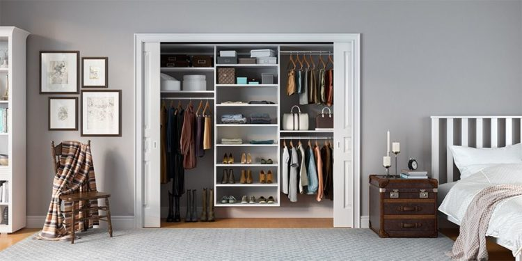 beautiful modern closet with large white sliding doors
