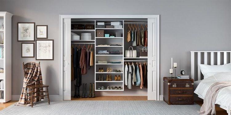 beautiful modern closet with large white sliding doors