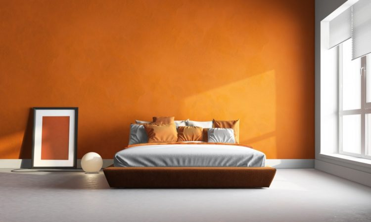 bedroom with orange wall