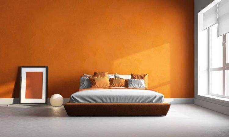 bedroom with orange wall