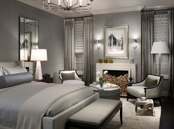 modern bedroom with chandelier