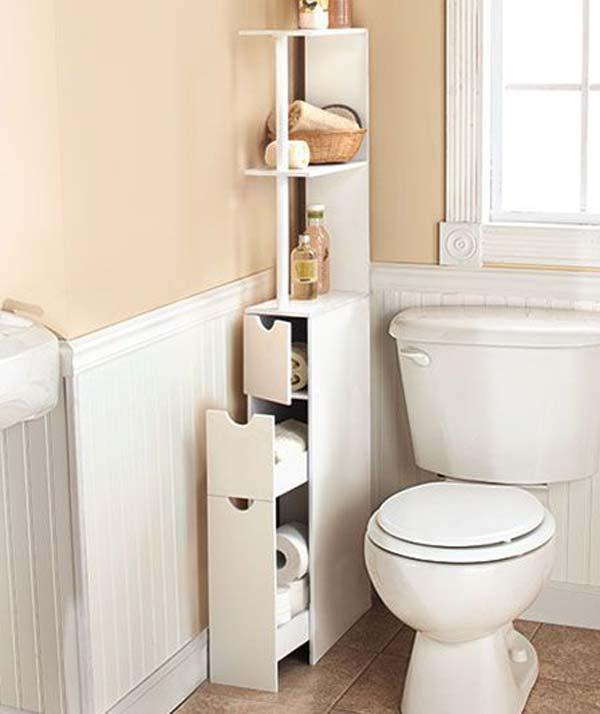 storage hack for bathroom