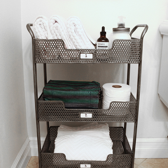 bar cart for bathroom storage