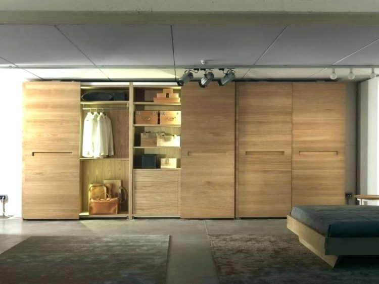 Bedroom Closet With Beautiful Wooden Sliding Door