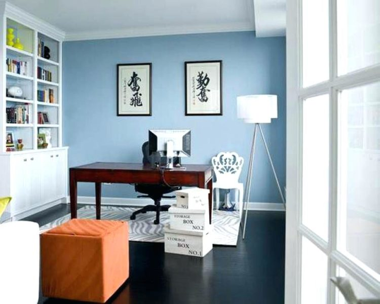 home office with light blue wall