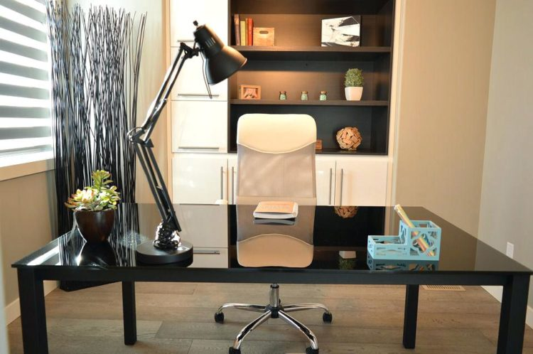 home office with built-in shelving