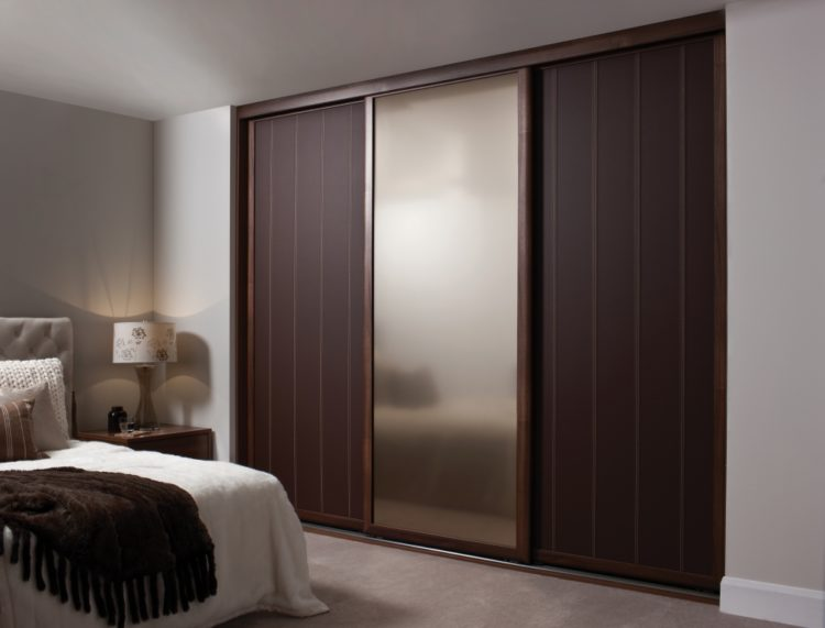 beautiful modern closet with sliding door