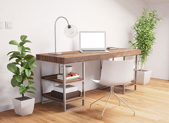 home office with wood desk