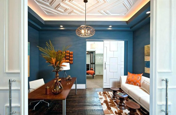 home office with blue feng shui color