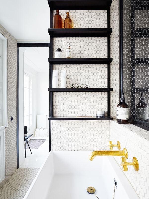 bathroom shelves over tub