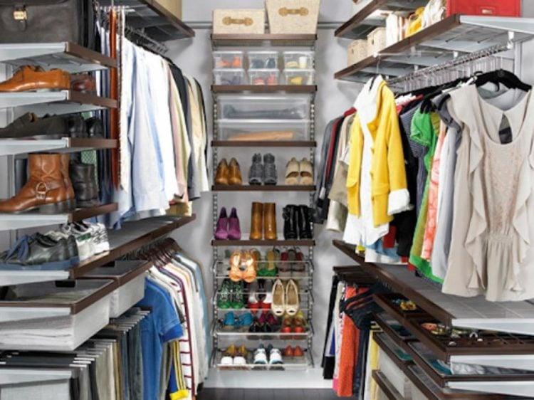 small walk-in closet storage