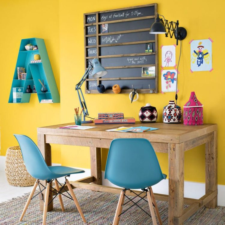 bright yellow home office
