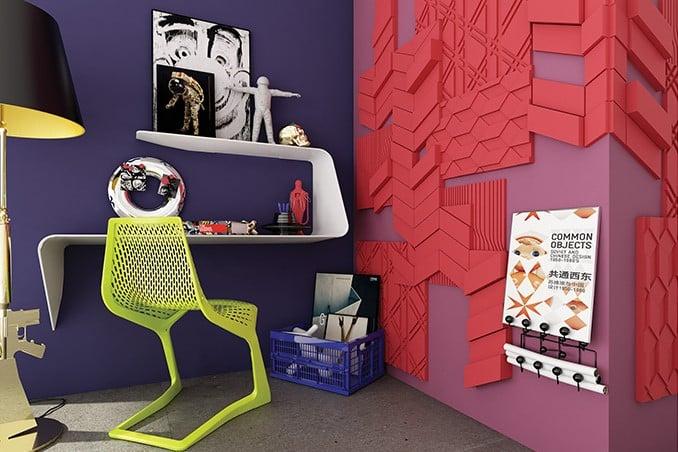 bold purple home office