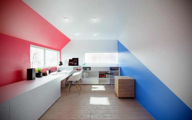 home office with bright colors