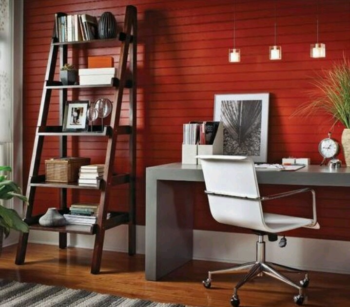 red plank wall home office