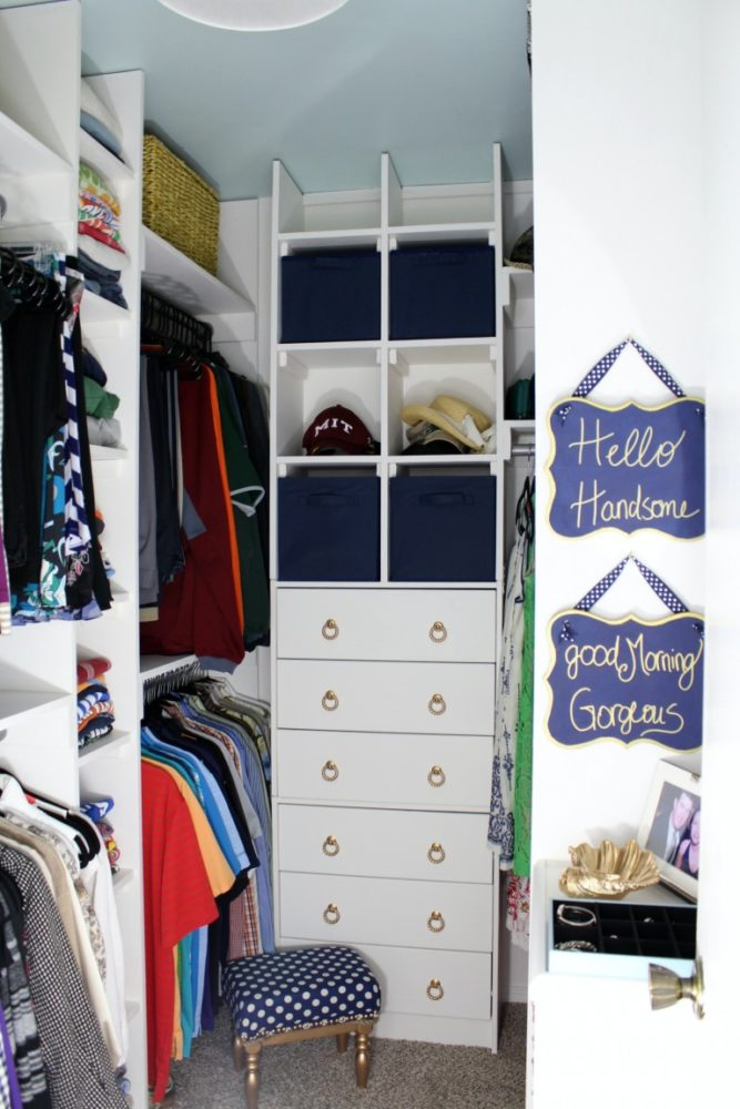 walk in closet with cube storage