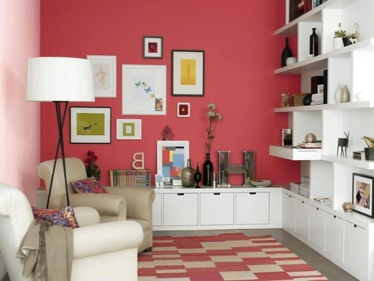 dark pink living room
