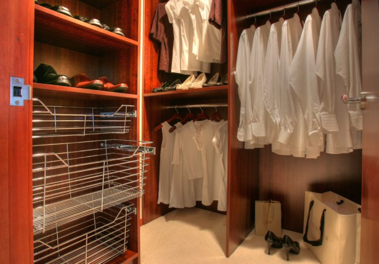 small closet space with storage