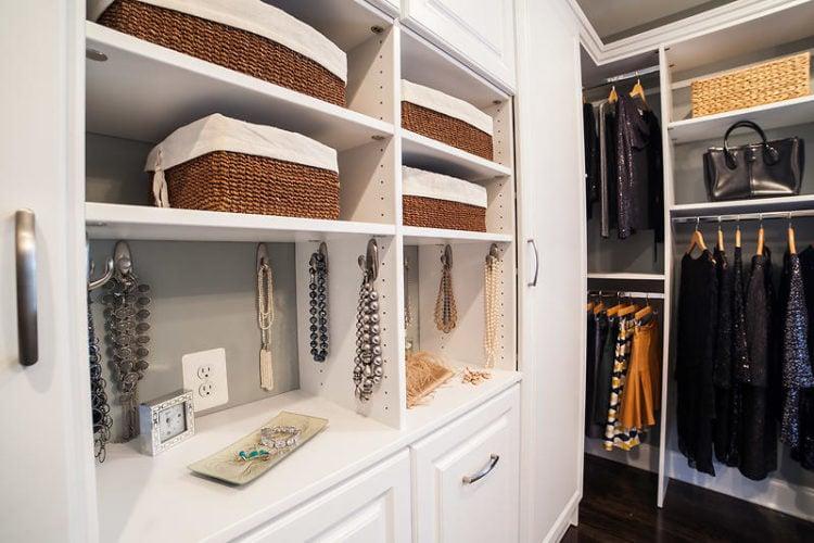 closet with storage baskets