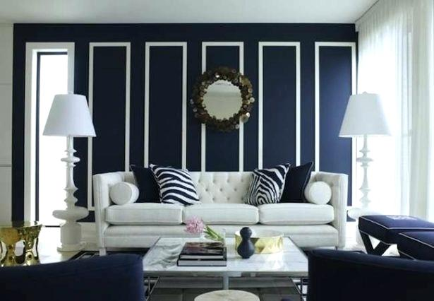 beautiful dark blue living room