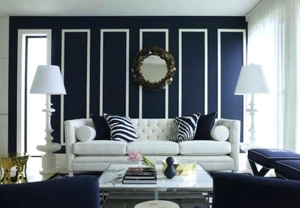 beautiful dark blue living room
