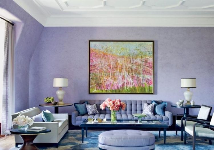 tonal purple living room