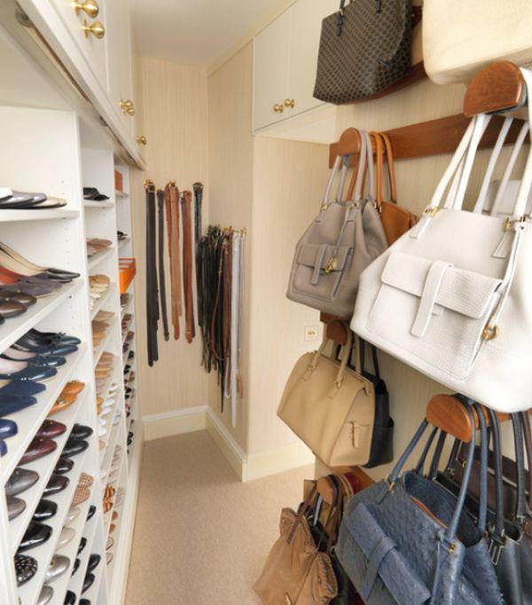 walk in closet with purse storage