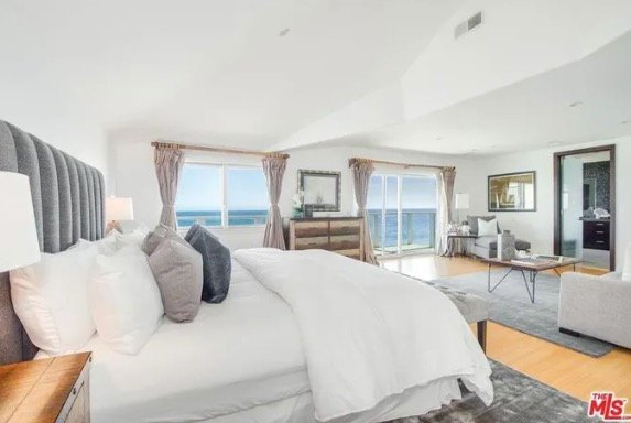 bedroom with an ocean view