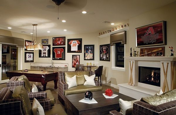 sports baseball themed basement cave jerseys framed caves room space teen bedrooms mancave designs sophisticated collection game basements living amazing