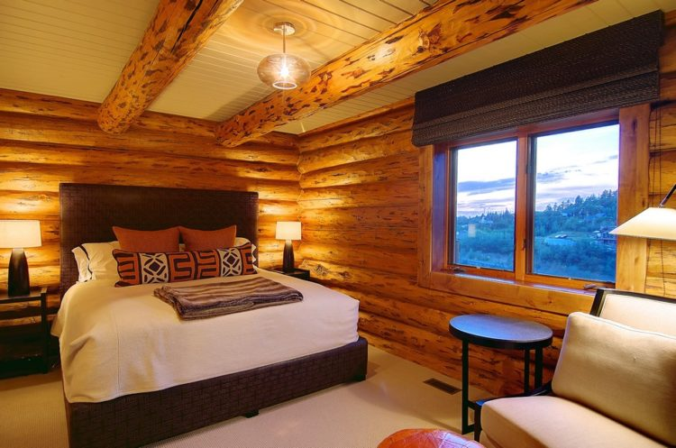 Modern Log Cabin Bedroom